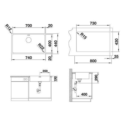 Blanco Eviye Andano 700-IF-A Paslanmaz Çelik - Thumbnail 20BL522995