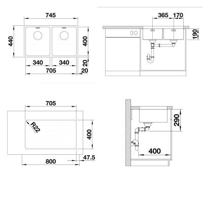 Blanco Eviye Andano 340/340 -U Paslanmaz Çelik 74,5 x 44 cm - Thumbnail 20BL522984