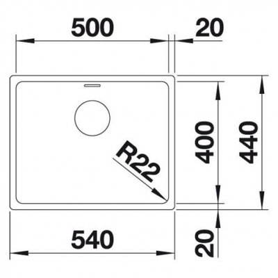 Blanco Eviye Andano 500 -U Tezgah Altı Paslanmaz Çelik 50 x 44 cm - Thumbnail 20BL522968