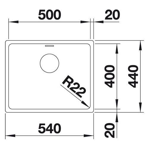 Blanco Eviye Andano 500 -U Tezgah Altı Paslanmaz Çelik 50 x 44 cm - 20BL522968