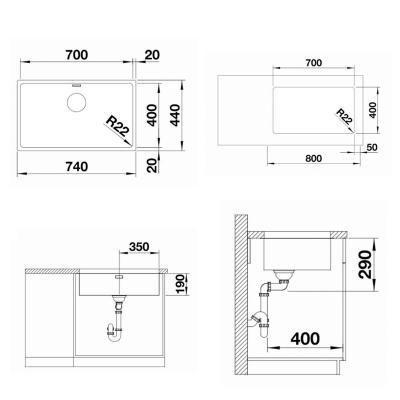 Blanco Eviye Andano 700-U Tezgah Altı Paslanmaz Çelik 70 x 44 cm - Thumbnail 20BL522972