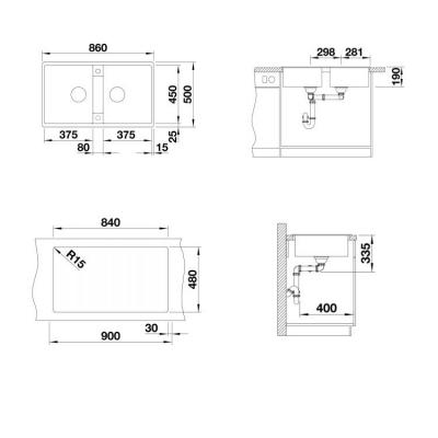 Blanco Eviye Zia 9 Silgranit Siyah 86 x 50 cm - Thumbnail 20BL526029