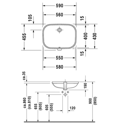 DURAVİT - Duravit D-Code Tezgah Altı Lavabo 56 x 40 cm, Alpin Beyaz 0338560000 (1)