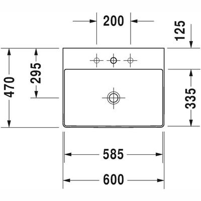 Duravit DuraSquare DuraCeram Batarya Banklı Çanak Lavabo 60 x 47 cm 2353600041 - Thumbnail 20DRV2353600041
