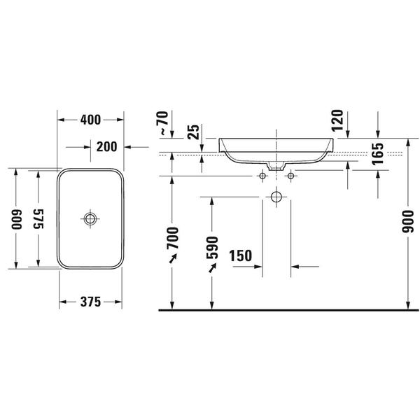 Duravit Happy D.2 Plus Lavabo 60 x 46 cm, Beyaz / Antrasit Mat 606061000 - 20DRV606061000 title=