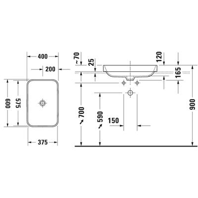 Duravit Lavabo Happy D.2 Plus 60 x 46 cm, Beyaz / Antrasit Mat 606061000 - Thumbnail 20DRV606061000