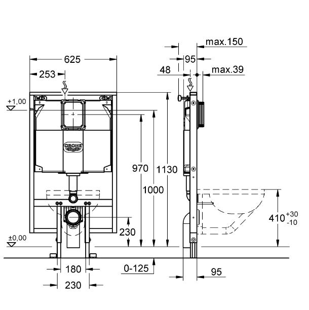 Grohe Rapid SL Gömme Rezervuar Alçıpan Tipi İnce 9,5 cm - 38994000 - 10GRO38994000