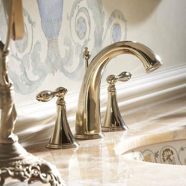 Kohler Lavabo Bataryası Finial Traditional 3 Delikli French Gold - 10KOH310-4M-AF title=